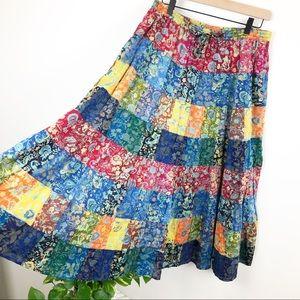 Boho Gypsy Patchwork Flowy Festival Skirt sz L